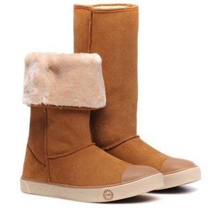 UGG Delaine Chestnut Sheepskin Sneaker Boots